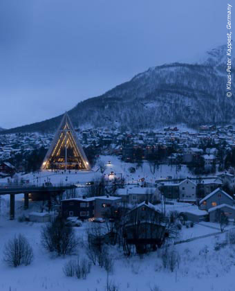 The Arctic Cathedral at Tromso in winter daylight